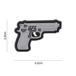 Patch 3D arme de 9 mm en PVC - gris - 101 Inc