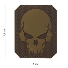 Patch 3D PVC Pirate Skull Marron - 101 Inc
