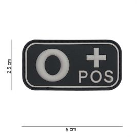Patch 3D PVC groupe sanguin O+ noir - 101 Inc